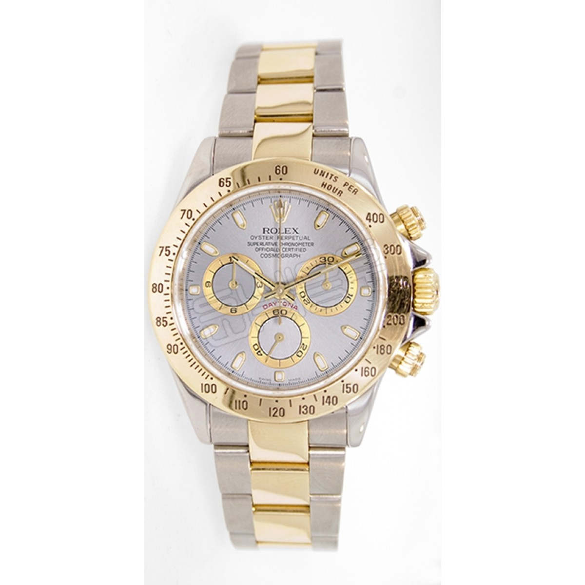 Rolex Daytona 116523 Stainless Steel 18k Yellow Gold Silver Face