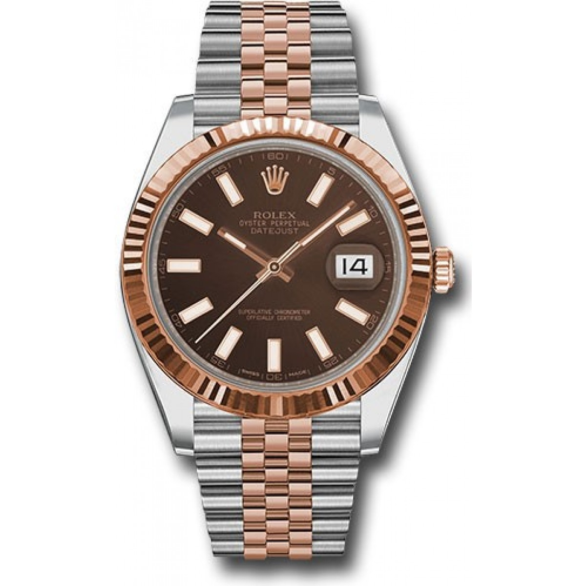 Rolex Datejust 41mm Stainless Steel and Pink Gold 126331 Jubilee Band  Chocolate Stick Dial