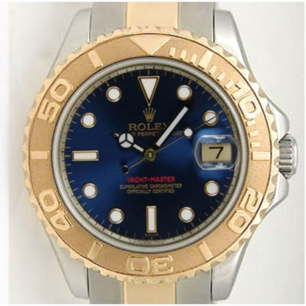 Rolex Yachtmaster 168623 Steel and Gold Mid,Size Blue Face