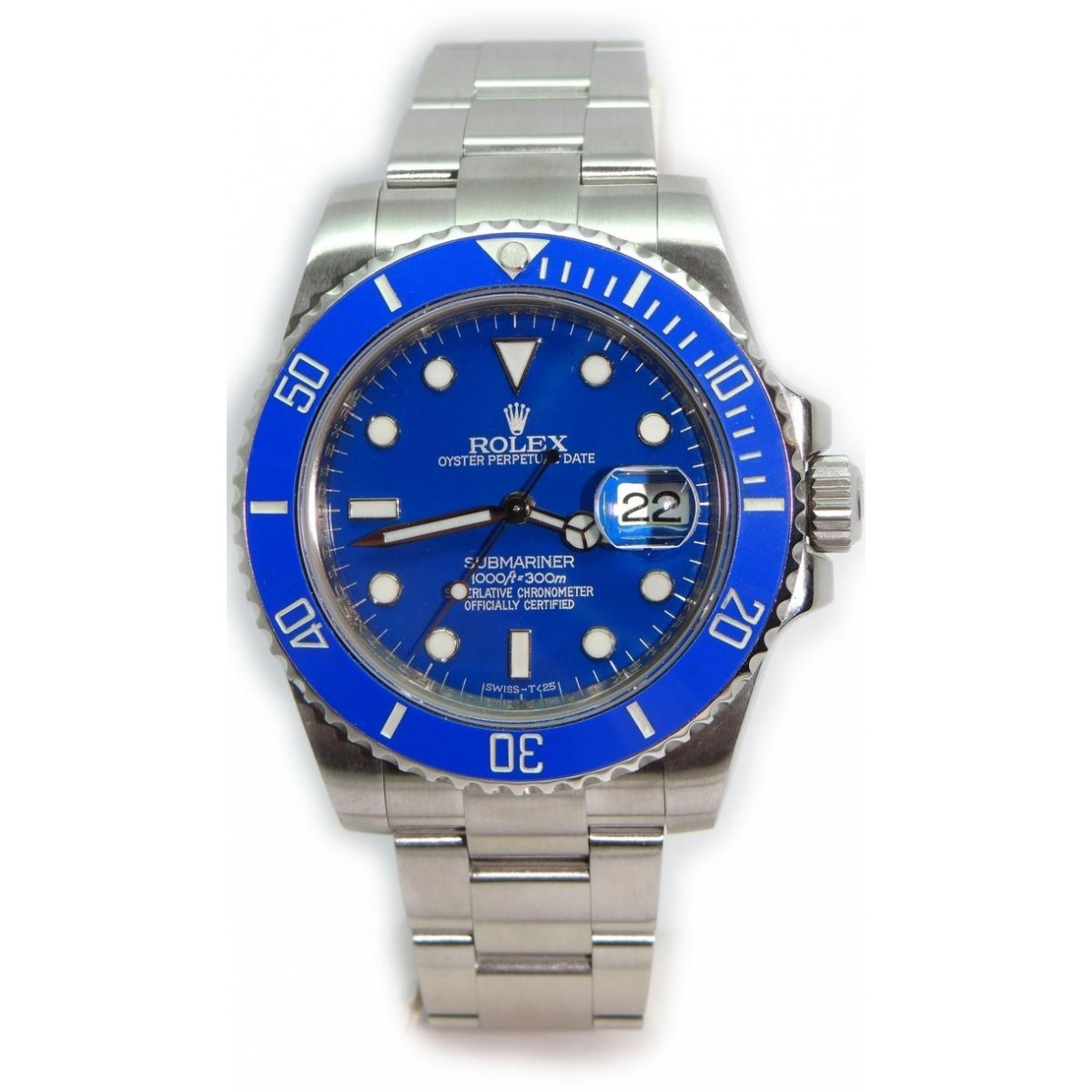 Rolex submariner 116610 heavy band w custom blue ceramic bezel and custom blue dial most for Submariner rolex blue