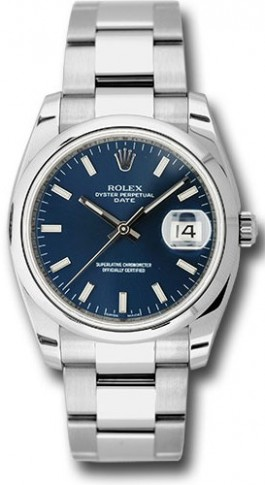 Rolex Date 115200 34mm Stainless Steel Oyster Band Model with a Blue Stick Dial