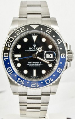 Rolex GMT Master II Stainless Steel Oyster Band Model 116710 Ceramic Blue & Black Bezel with Black Dial