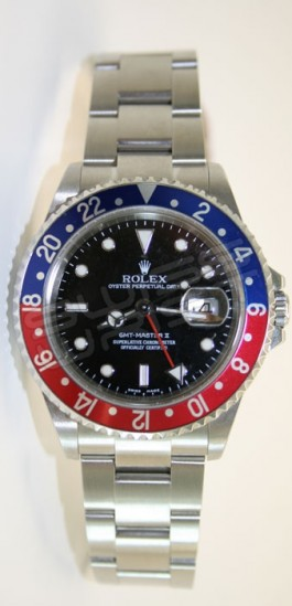 "Pepsi Rolex GMT Master II 16710 Classic Stainless Steel Model with ""Blue & Red Pepsi"" Bezel - No Holes Case"