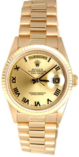 Rolex President Mens Perfect New Condition DQ Model 18238 In 18K Yellow Gold w/Champagne Roman Dial-90's