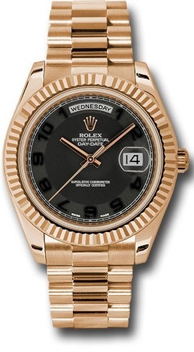Rolex Day Date Ii 218235 18k Rose Gold 41mm Black Concentric Circle Dial Black Arabic Numerals