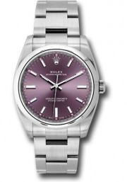 Rolex Men's 34mm Oyster Perpetual Watch Stainless Steel Oyster Band Model 114200 Red Grape Index Dial & Smooth Bezel - UNUSED
