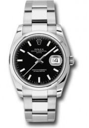 Rolex Men's 34mm New Style Date Model 115200 Stainless Steel Oyster Band With A Black Index Dial & Smooth Bezel - UNUSED