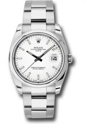 Rolex Men's 34mm New Style Date Model 115200 Stainless Steel Oyster Band With A White Index Dial & Smooth Bezel - UNUSED