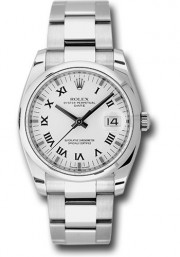 Rolex Men's 34mm New Style Date Model 115200 Stainless Steel Oyster Band With A White Roman Dial & Smooth Bezel - UNUSED