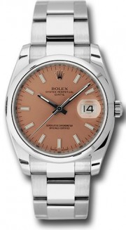 Rolex Date 115200 34mm Stainless Steel Oyster Band Model with a Pink Stick Dial