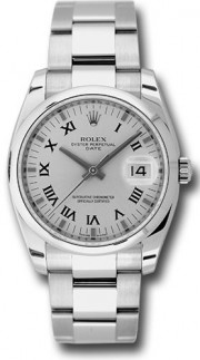 Rolex Date 115200 34mm Stainless Steel Oyster Band Model with a Silver Roman Dial