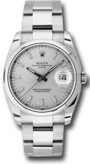 Rolex Date 115200 34mm Stainless Steel Oyster Band Model with a Silver Stick Dial