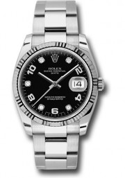 Rolex Men's 34mm New Style Date Model 115234 Stainless Steel Oyster Band With A Black Diamond & Arabic Dial & White Gold Fluted Bezel - UNUSED