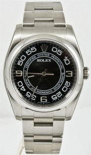Rolex Men's 36mm Oyster Perpetual Model 116000 Stainless Steel New Style Oyster Band With Black Concentric Arabic Dial & A Smooth Bezel - UNUSED