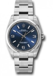 Rolex Men's 36mm Oyster Perpetual Model 116000 Stainless Steel New Style Oyster Band Blue Dial With Index & Arabic Markers & A Smooth Bezel - UNUSED