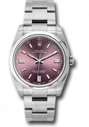 Rolex Men's 36mm Oyster Perpetual Model 116000 Stainless Steel New Style Oyster Band Purple Grape Dial With Index Markers & A Smooth Bezel - UNUSED