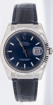 Rolex Datejust 116139 White Gold Case & Clasp, Blue Leather Strap & Rolex Blue Stick Dial - Inner Bezel Engraving Model