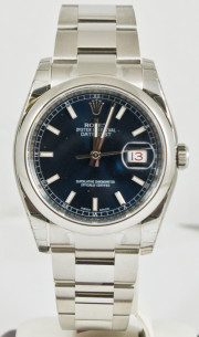 Unused Rolex Mens New Style Heavy Band Stainless Steel Datejust Model 116200 Oyster Band Stainless Steel Smooth Bezel Blue Stick Dial