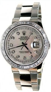 Rolex Datejust Men's New Design Heavy Oyster Band Model 116200 In Box with Tags, Custom Added 2ct Baguette Diamond Bezel and MOP String Diamond Dialn 2005 Model
