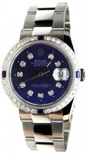 Rolex Datejust Men's New Design Heavy Oyster Band Model 116200 In Box with Papers and Tags, Custom Added Sapphire Diamond Bezel and Deep Ocean Blue Diamond Dial