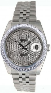 Rolex Datejust Men's Heavy Jubilee Band/Hidden Clasp Model 116200 In Box with Tags, Custom Added Diamond Bezel and Custom Pave Diamond Dial