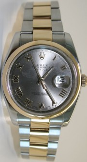 Rolex Datejust 116203 Stainless Steel & 18K Yellow Gold Heavy Oyster Band Flip Lock Rhodium Roman Face
