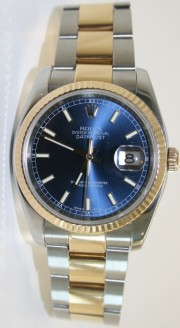 Rolex Datejust 116233 Men's Steel and 18K Gold Newer Heavy Oyster Band Blue Index Face