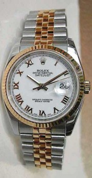 "Rolex Datejust 116233 Men's Stainless Steel and 18K Yellow Gold Jubilee Band White Roman Numeral Face ""Heavy Band with Hidden Clasp"""