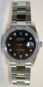 Rolex Datejust 116200 Stainless Steel Heavy Oyster Band Flip Lock Buckle Custom 1ct Channel Diamond Bezel and Black Diamond Dial