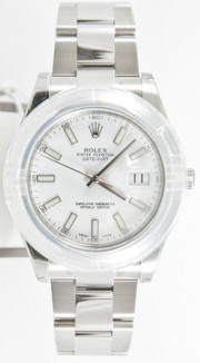 Rolex Men's 41mm Datejust II Ref 116300 Stainless Steel Oyster Band White Stick Dial & Smooth Bezel - Unused