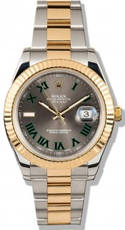 Rolex Datejust II 116333 Stainless Steel & 18K Gold Oyster Band Yellow Gold Fluted Bezel & Slate Roman Dial - 41mm