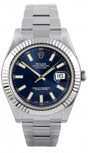 Rolex Datejust II 116334 Stainless Steel Oyster Band White Gold Fluted Bezel & Blue Stick Dial - 41mm