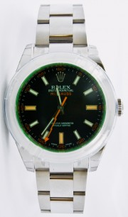 Rolex Men's Milgauss Model 116400 Stainless Steel Watch With Green Crystal & Black Dial with Smooth Bezel - UNUSED