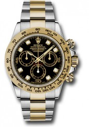 Rolex 40mm Daytona Model 116503 Stainless Steel & 18k Yellow Gold Oyster Band With A Black Diamond Dial UNUSED