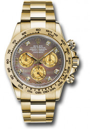 Rolex Men's Daytona Model 116508 18k Solid Yellow Gold Watch Oyster Band With A Factory Tahitian Mother Of Pearl Diamond Dial - UNUSED