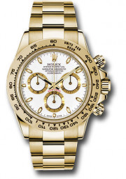 Rolex Men's Daytona Model 116508 18k Solid Yellow Gold Watch Oyster Band With A White Index Dial - UNUSED