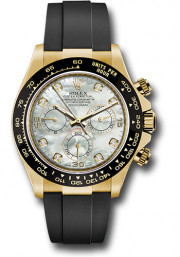 Rolex Daytona Model 116518 Factory Rubber Strap 18k Solid Yellow Gold Case With Ceramic Bezel With Factory Mother Of Pearl Diamond Dial & Gold Clasp - UNUSED