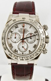 Rolex Men's 40mm Daytona Reference 116519 Factory Rolex Brown Crocodile Strap 18k Solid White Gold Case With Factory Meteorite Roman Dial & White Gold Clasp