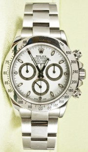 Rolex 116520 Daytona Stainless Steel Oyster Band White Index Dial & Tachymeter Style Bezel New Style Fat Buckle