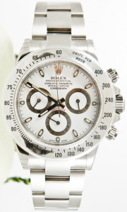 "Rolex Daytona Stainless Steel Watch 116520 Oyster Band ""Bezel Engraved"" White Dial - UNUSED"