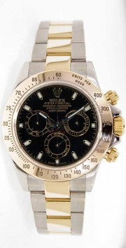 Rolex Daytona 116523 Stainless Steel & 18K Yellow Gold Black Face Perfect Mint Condition Display Model 2000s
