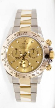 Rolex Daytona 116523 Stainless Steel & 18K Yellow Gold Face Perfect Mint Condition Display Model- 2000s
