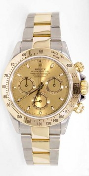 Rolex Daytona 116523 Stainless Steel & 18K Yellow Gold Champagne Face Perfect Condition - 2000's