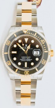 Rolex Submariner Stainless Steel & 18K Yellow Gold Model 116613 With A Black Face & Black Ceramic Bezel - Unused