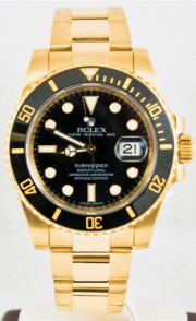 Rolex 40mm Submariner Watch Model 116618 18k Yellow Gold Oyster Band Black Dial & Black Ceramic Bezel, Day One Condition- Like New!