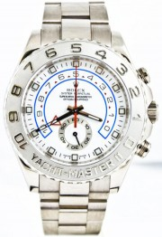 Rolex 44mm Yachtmaster II Model116689 18k Solid White Gold Watch With Platinum Bezel & White Dial