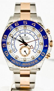 Rolex 44mm Yachtmaster II Reference 116681 Stainless Steel & 18K Rose Gold Watch Blue Ceramic Bezel & White Dial - UNUSED