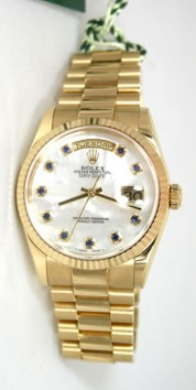 Rolex Day-Date Presidential 118238 Men's 18K Yellow Gold New Style Heavy Band and Custom Added Mother of Pearl Sapphire Marker Face
