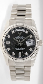 Rolex President Day-Date 118239 Men's New Style White Gold Heavy Band Model Factory Black Diamond Dial
