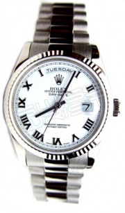 Rolex Day-Date 118239 Presidential 18K White Gold Heavy Band White Roman Dial